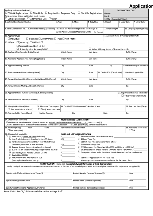 Form 130-u - Application For Texas Title And/or Registration (with ...