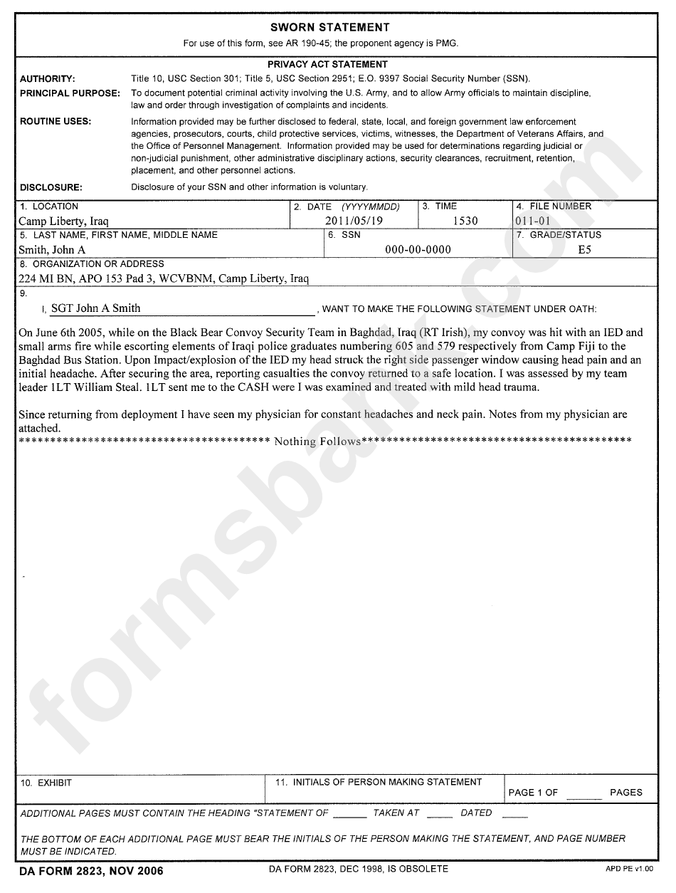 example da 2823 printable pdf download