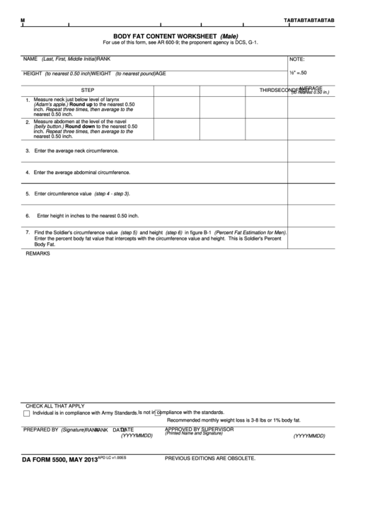 Fillable Da Form 5500 - Apd - Army Printable pdf