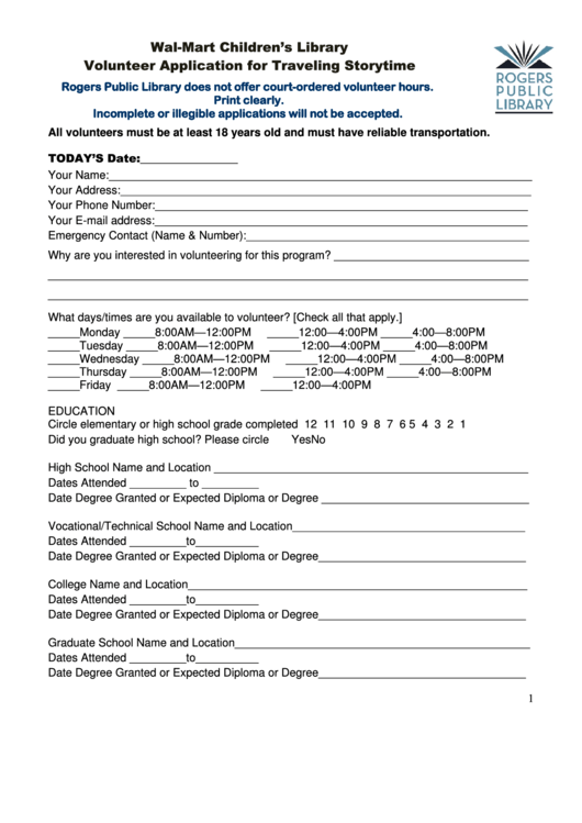 Volunteer Application For Traveling Storytime Template - Wal-mart Children S Library