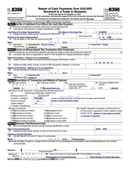 Form 8300 - Fincen printable pdf download