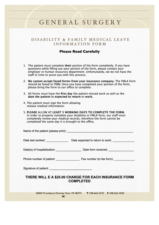 Disability & Family Medical Leave Information Form - R.b. Kolachalam M.d. General Surgery