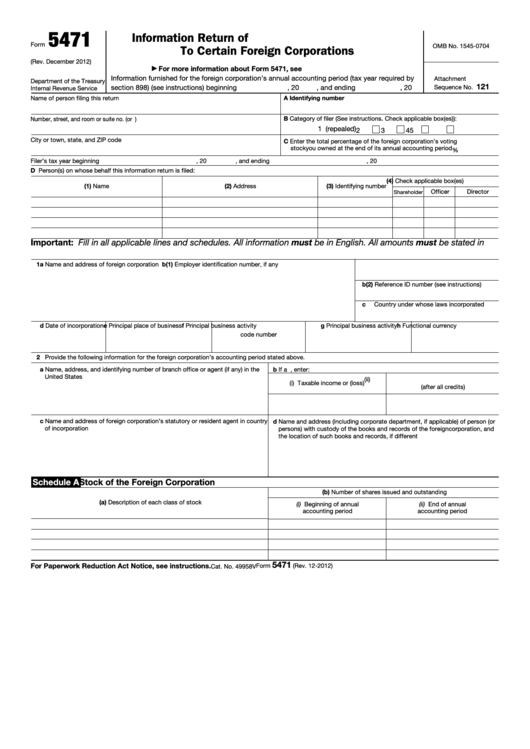Fillable Form 5471 Information Return Of Us Persons With Respect