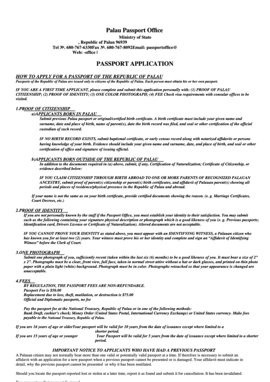 Palau Passport Office Passport Application Printable pdf