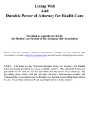 Declaration Of Living Will Form, Durable Power Of Attorney For Health Care Template