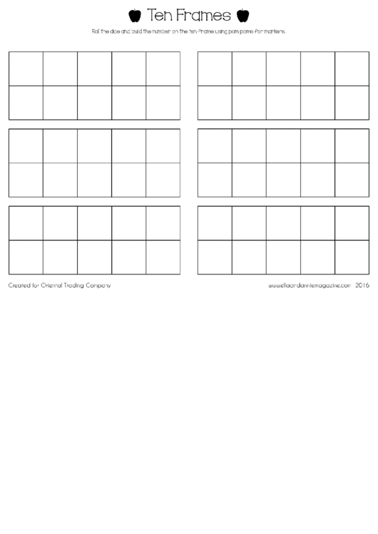 Ten Frames Game Template Printable pdf