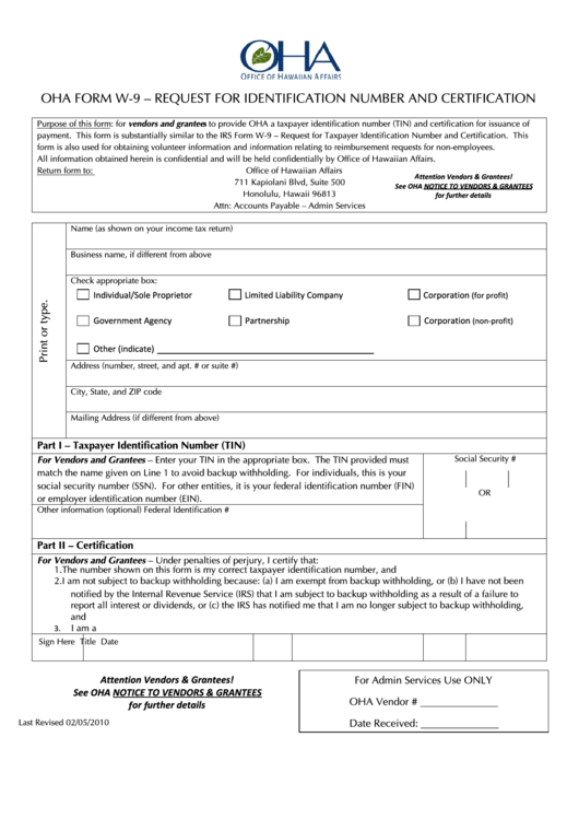 Oha Form W-9 - Request For Identification Number And Certification