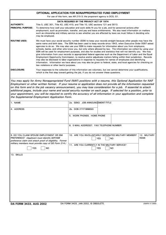 Da Form 3433 - Optional Application For Nonappropriated Fund Employment