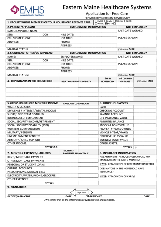 Application For Free Care For Medically Necessary Services Only Printable pdf