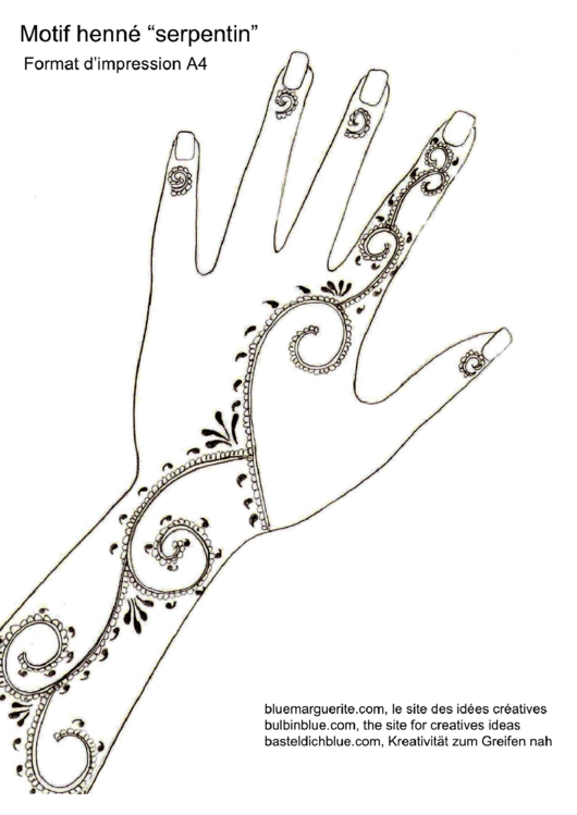 Henna Design Outline: Henna Design Template (Serpentin) Printable Pdf Download