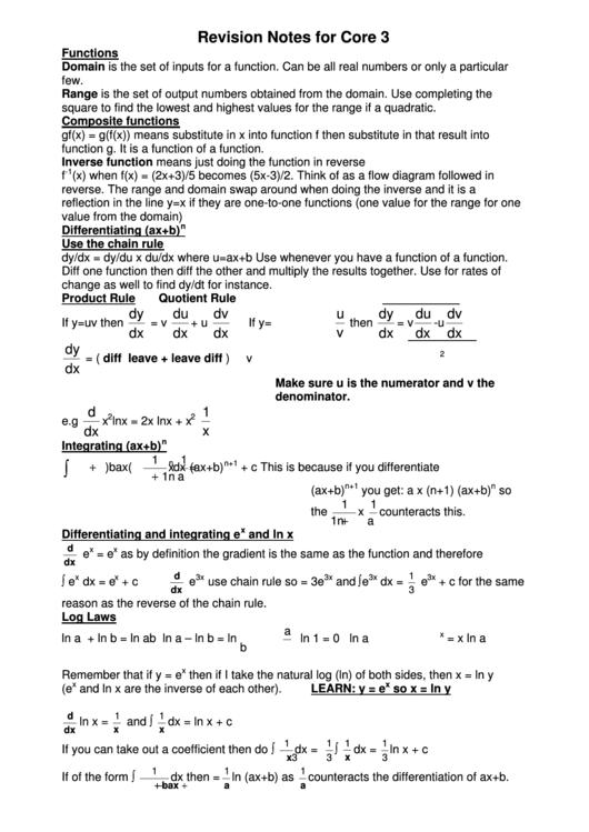 Core 3 Algebra Revision Notes printable pdf download