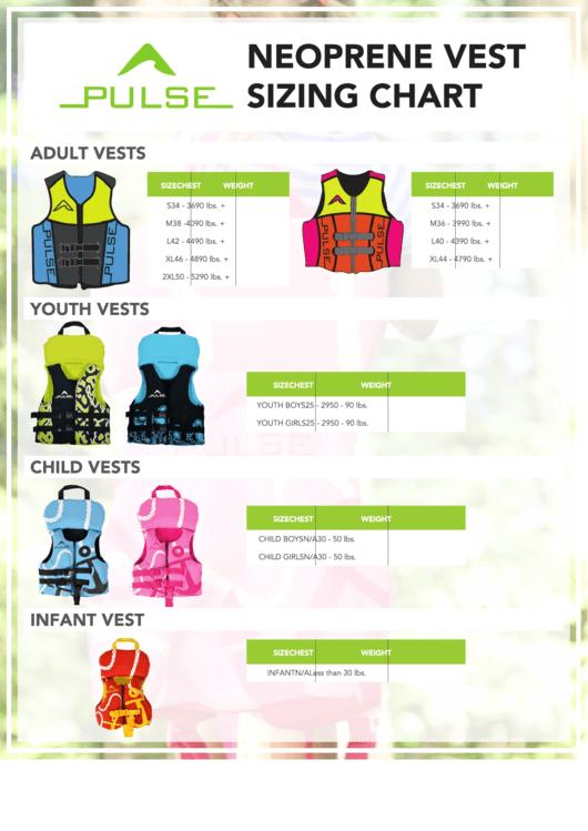 Pulse Neoprene Vest Sizing Chart Printable pdf