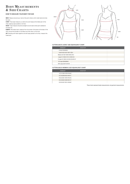 Cutter & Buck Body Measurements & Size Charts