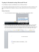 Typing In Mandarin Using Microsoft Word