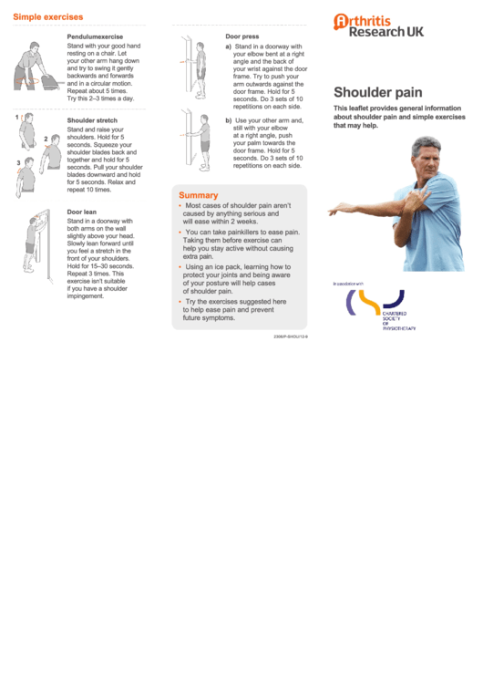 Shoulder Pain Chart (with Exercises)