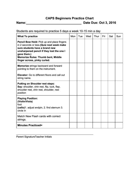 Caps Beginners Practice Chart