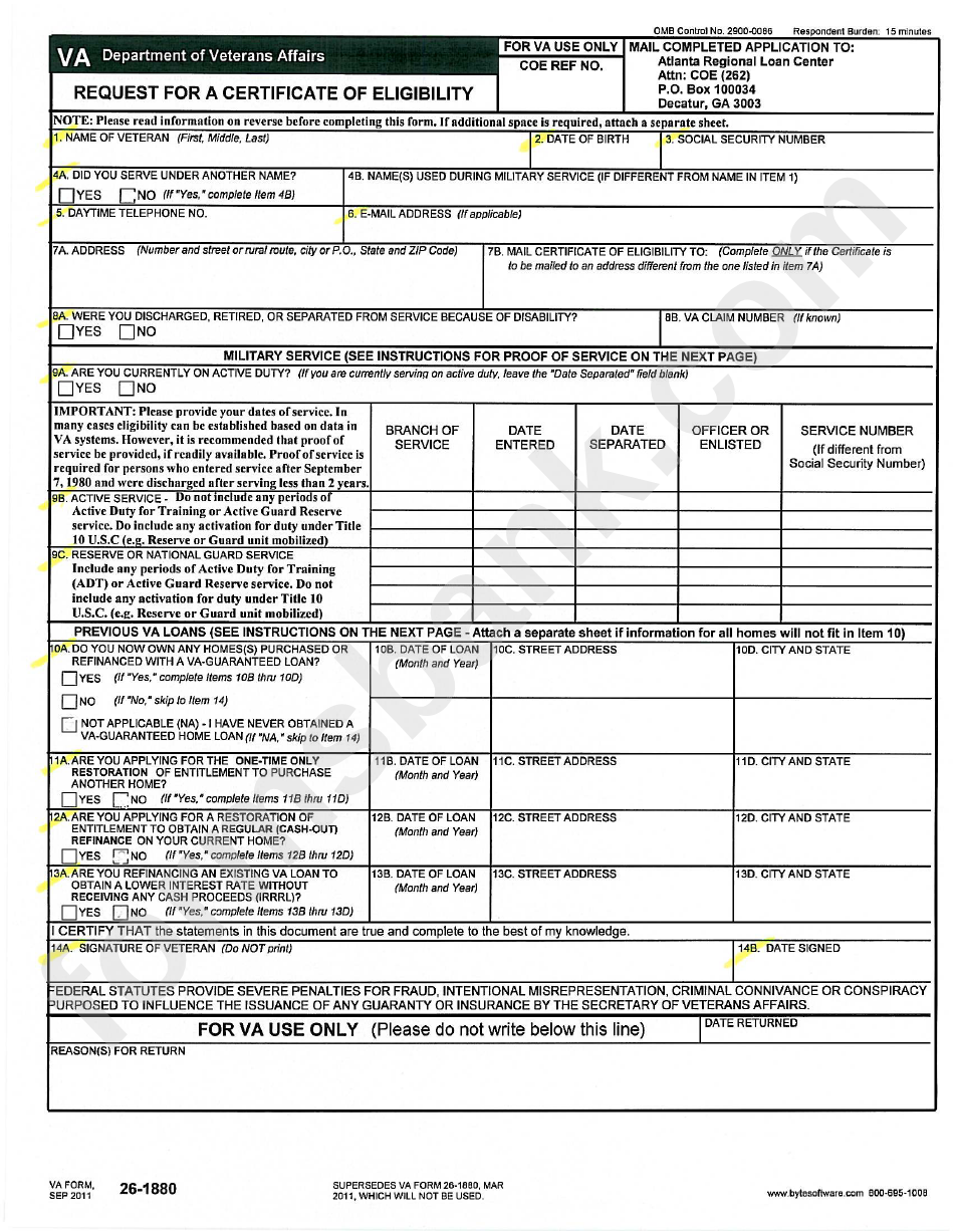 Va Form 26 1880 Request For A Certificate Of Eligibility Printable