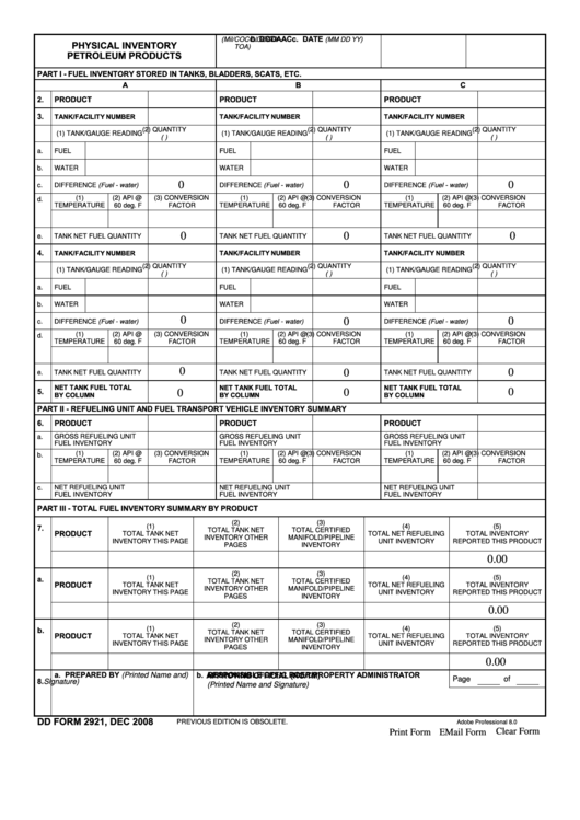 fillable dd form 2921 physical inventory petroleum products
