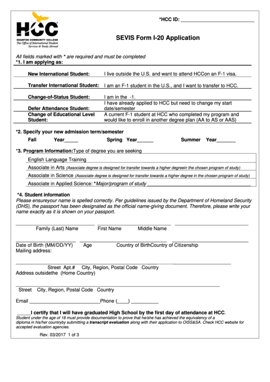 Sevis Form I-20 Application - Hcc