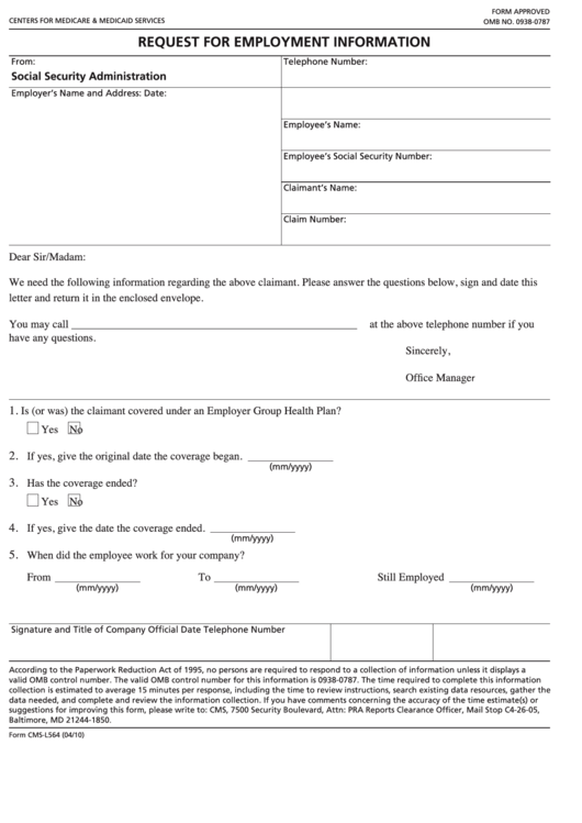 Form Cms-l564 - Request For Employment Information