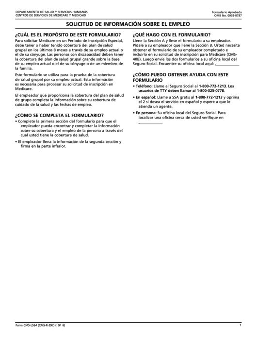 Form Cms-l564 - Solicitud De Informacion Sobre El Empleo