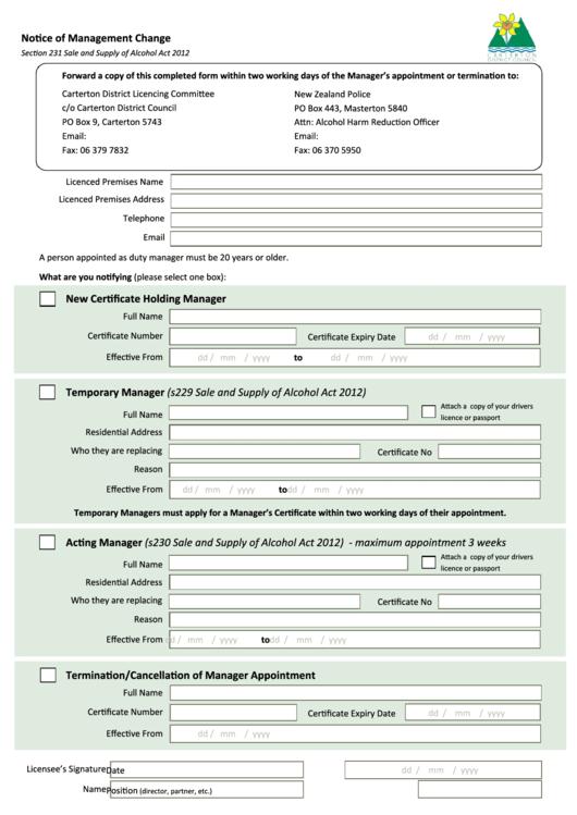 Notice Of Management Change - Carterton District Council