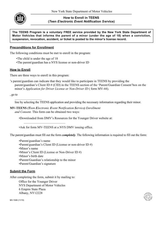 Form Mv-1046 - Teens Program - Teens Driving Smart - Instructions For Enrollment Form