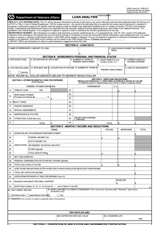Fillable Va Form 26 6393 Loan Analysis Printable Pdf