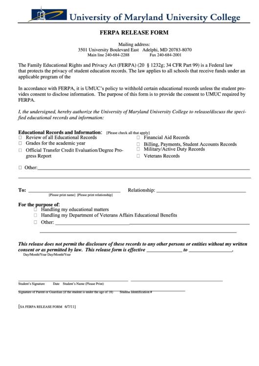Ferpa Release Form - Umuc