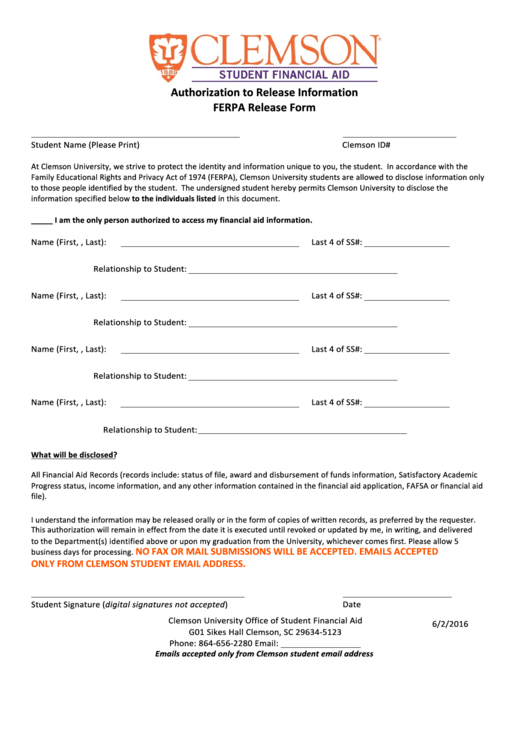 ferpa form clemson  Top 12 Ferpa Release Form Templates free to download in PDF ...