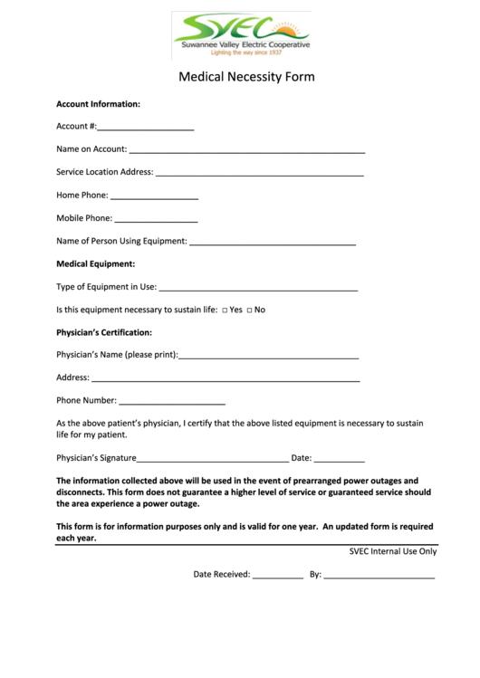Svec Medical Necessity Form