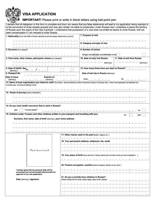 Fillable Russian Visa Application Form For Non-U.s. Citizens Printable pdf