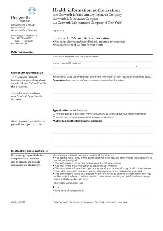 Health Information Authorization - Genworth