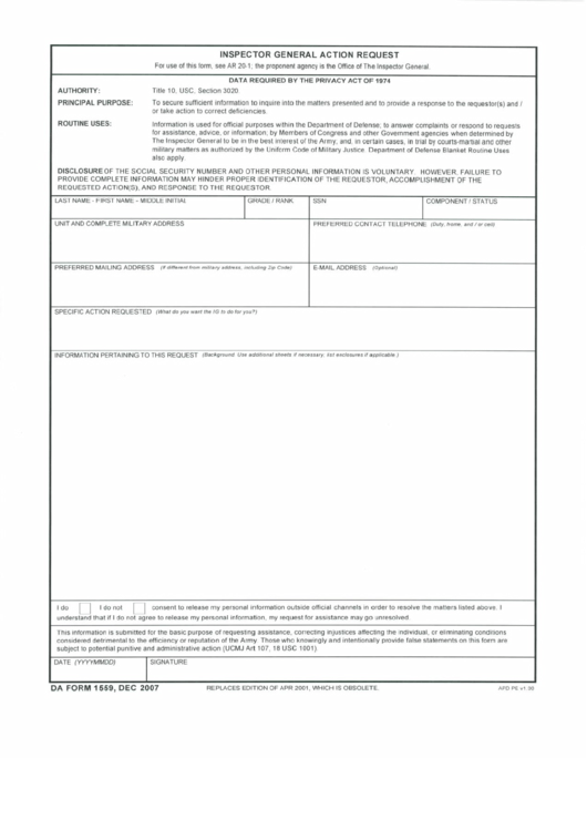 Fillable Inspector General Action Request - Army Printable pdf