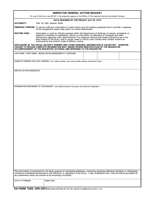 Da Form 1559 - Inspector General Action Request