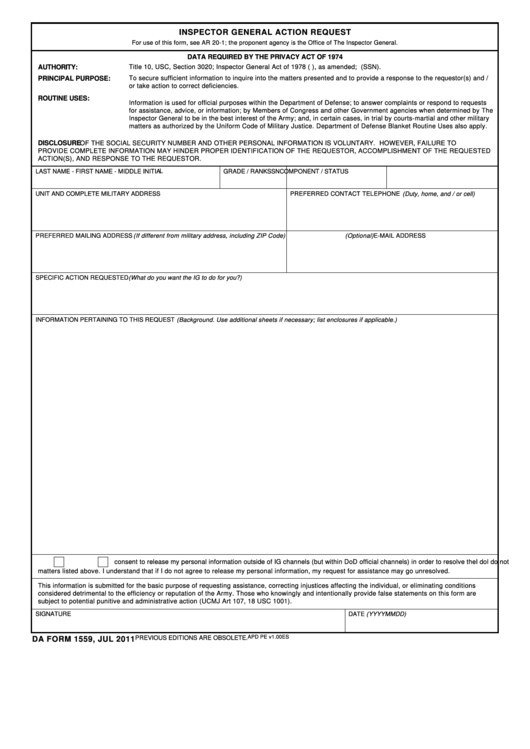 Da Form 1559, Dec 2007 - Inspector General Action Request Template