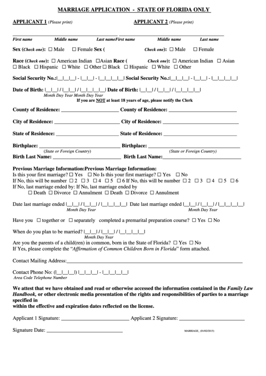 Marriage Application - Escambia County Clerk