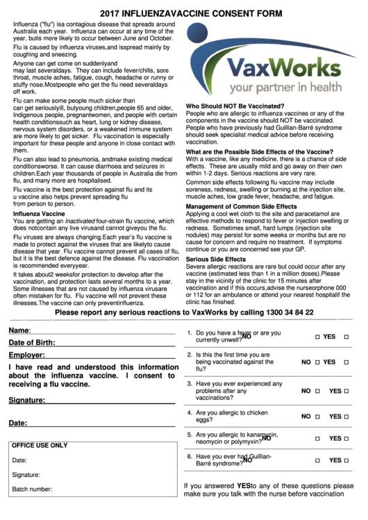 2017 Influenza Vaccine Consent Form - Vaxworks printable pdf download