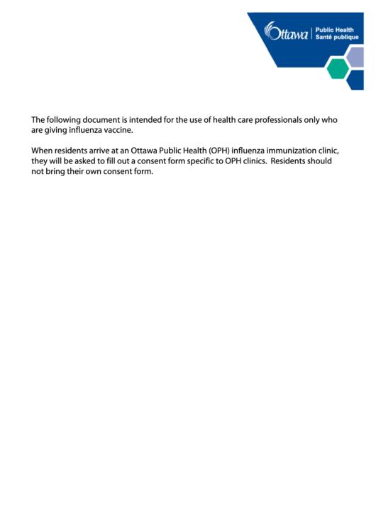 Influenza Vaccine Consent Form - City Of Ottawa printable pdf download