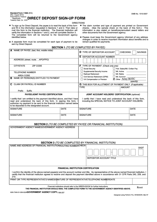 Top 9 Standard Form 1199a Templates Free To Download In Pdf Format
