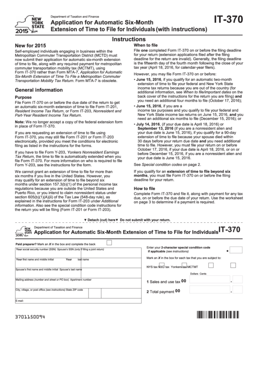 Form It-370 - 2015 - Department Of Taxation And Finance Application For Automatic Six-month Extension Of Time To File For Individuals (with Instructions)