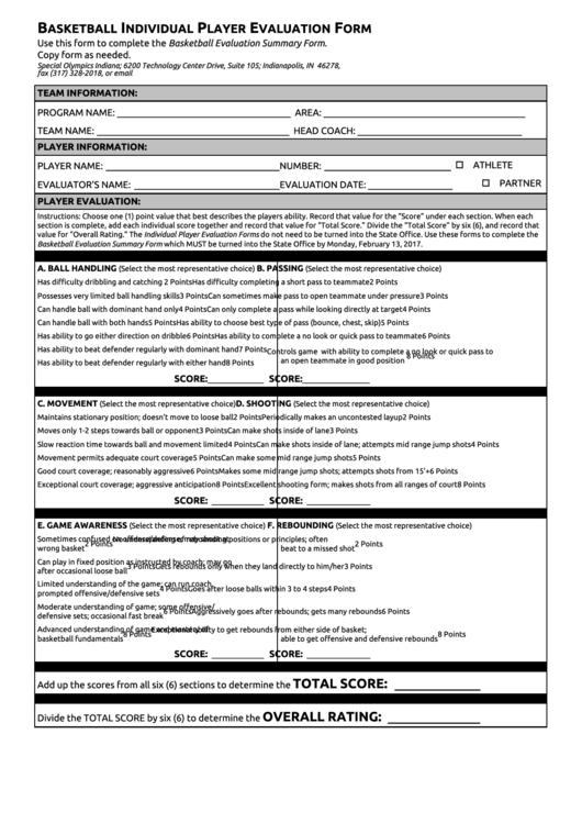 basketball individual player evaluation form printable pdf