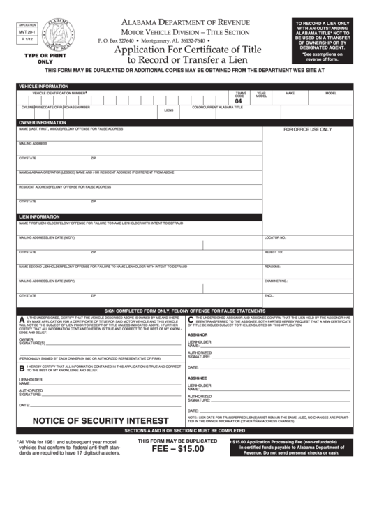 Fillable Mvt 20-1 - Alabama Department Of Revenue - Application For Certificate Of Title