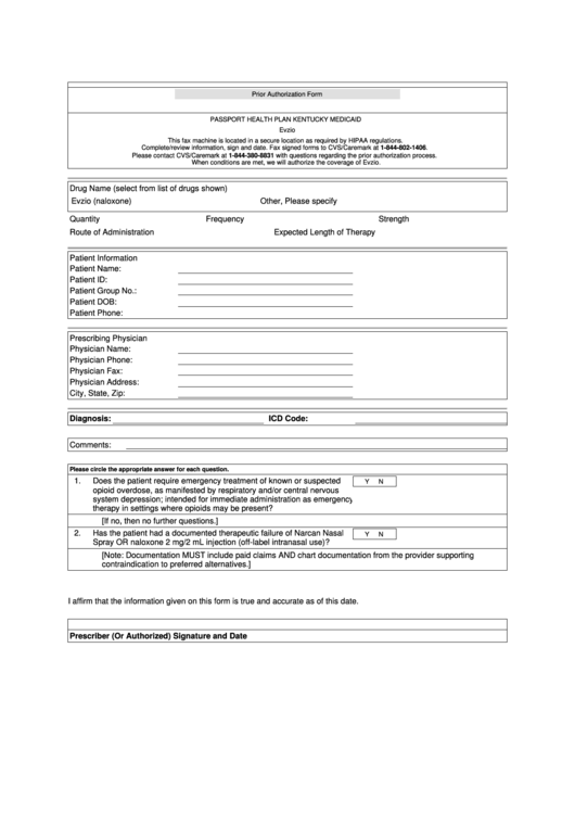 Prior Authorization Criteria Form - Passport Health Plan Printable pdf