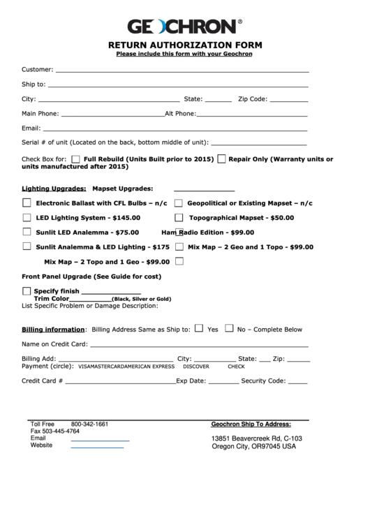Return Authorization Form - Geochron