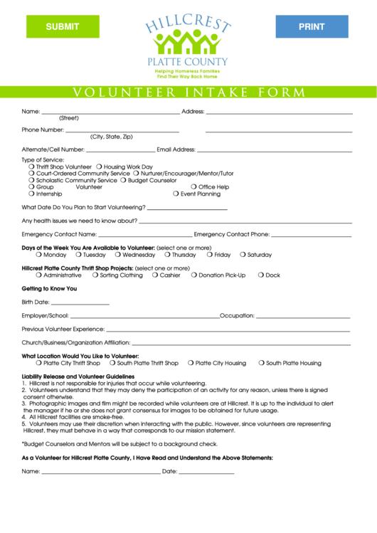Volunteer Form - Hillcrest Platte County