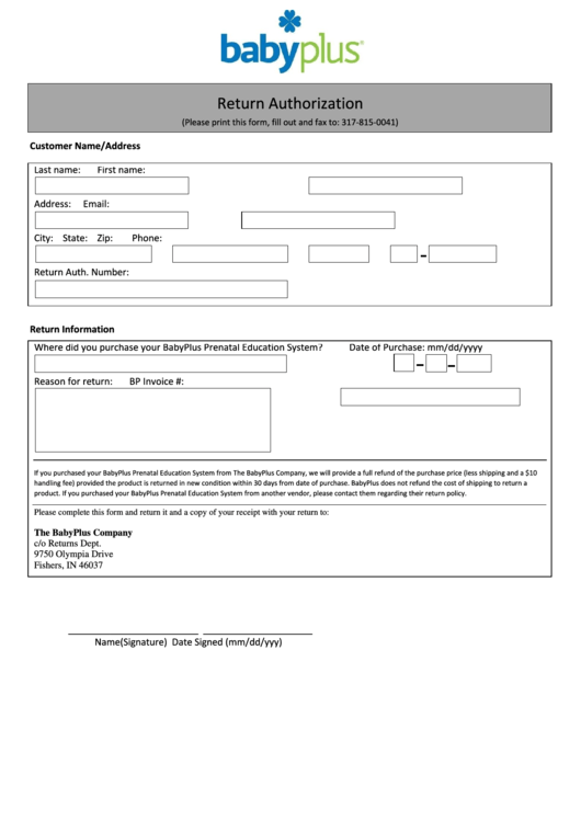 Return Authorization Form - Baby Plus