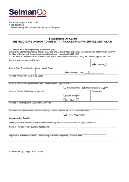 Form Lc 7363 1 Mlic Statement Of Claim And Instructions On How