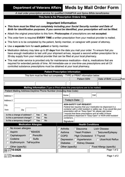 Va Form 10-0426 - Meds By Mail Order Form - Department Of Veterans ...
