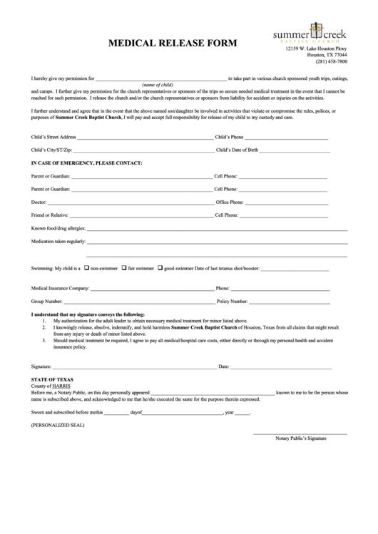 Medical Release Form - Summer Creek Baptist Church